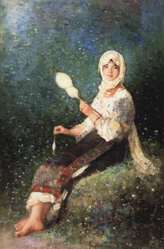 Nicolae  Grigorescu | Paysanne filant, 1870-1875 Our Planet Earth, Painting People, Unusual Art, How To Start Knitting, Great Artists, Hand Knitting, Photo Art, Culture, History