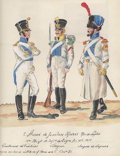 Naples; 1st Line Infantry(Re(King's))  Fusilier Lieutenant, Voltigeur & Sapper Sergeant 1813-15 by H.Boisselier