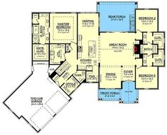 Like the semi-ensuite layout of bdrm 2&3 with personal wahbadin and closet Contemporary Farmhouse Plan with Bonus Room Over The Garage - 51774HZ floor plan - Main Level