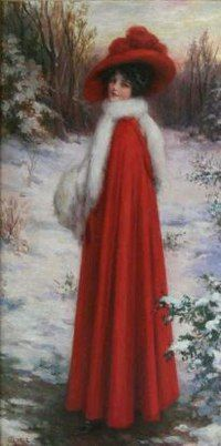 A Lady In Red ~ Portrait Of Gladys Granger ~ John Knowles Hare Images Vintage, Vintage Christmas Images, Victorian Christmas, Christmas Pictures, Vintage Pictures, Vintage Cards, Vintage Postcards, Red Images, Bing Images