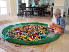 The play mat, at 5' in diameter, is huge, which means that it's plenty big enough to keep a billion Lego pieces contained. The best part is that, when your kid is done playing, all you have to do is pull the drawstring and clean up is complete!   Available from the Lay-n-Go website for $64.95.