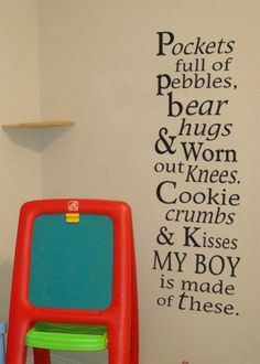 My boy is made of these vinyl wall decal by LittleCreekMarket, $32.00