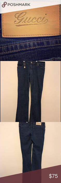 """Authentic Gucci jeans Genuine Gucci jeans. Gucci brand is located on each front pocket's rivet, on a goldmine charm that hangs front the first belt loop, on the emblazoned leather patch (back belt loop), and on the inside on the back waistband. They are straight-leg jeans, with a 29.5"""" inseam. I am 95% sure I have the original receipt. Gucci Jeans Straight Leg"""