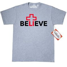 Inktastic Red Cross Believe Christian T-Shirt Jesus God Faith Bible Mens Adult Clothing Apparel Tees T-shirts, Size: XXXL, Grey