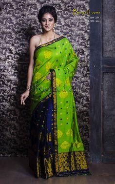 Assamese Mekhela Chador in Dark Blue and Parrot Green Assam Silk Saree, Silk Sarees, Parrot Green Saree, Chiffon Saree Party Wear, Mekhela Chador, Saree Dress, Dress Cuts, Beautiful Saree, Indian Designer Wear