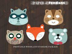 PRINTABLE EYEMASK Woodland animals package by PaperAndFondant