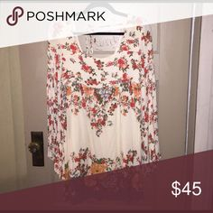 Free People Dress Long sleeve floral dress with tie back - no tags but only worn once! Free People Dresses Long Sleeve