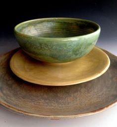 Handmade dinnerware tableware dinnerplates by Lesliefreemandesigns