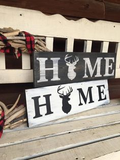 HUNTING HOME DECOR/Antler Art/Rustic Home Decor/Deer Wood Sign/Man Cave Art/Man Cave Sign/Nature Decor/Woodland Decor/Home Wood Sign by WebbsWeWeave on Etsy #DIYHomeDecorPainting