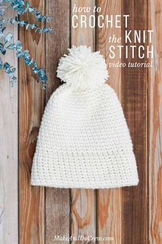 Learn how to crochet the knit stitch successfully in this step-by-step video tutorial. The knit stitch (AKA the waistcoat or center single crochet stitch) can be tricky at first, but trying the few specific tips mentioned in this video, you'll know how to make crochet look like knitting in no time! Free knit-looking crochet beanie hat pattern included.