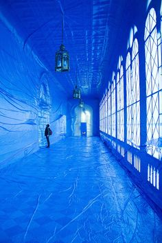Galeria del Paranimf by Penique productions in Barcelona, Spain Projection Installation, Art Installations, Everything Is Blue, Old Building, Blue Aesthetic, Public Art, Exeter, Photos, Pictures