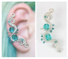 Aqua EAR CUFF with czech glass crystals, perfect for gift, silver wire wrapping water theme on Etsy, $12.70
