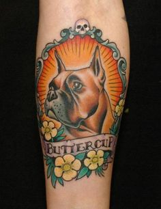 Animal tattoos are very popular, dog tattoos are no exception ! A lot of people like to get tattoos of their dogs or pets. You have to decide the dimensions of your dog tattoo that you would like. Dagger Tattoo, Tattoo On, Body Art Tattoos, Sleeve Tattoos, Cameo Tattoo, Sugar Tattoo, Tattoo Legs, Pet Tattoos, Tattoo Celtic