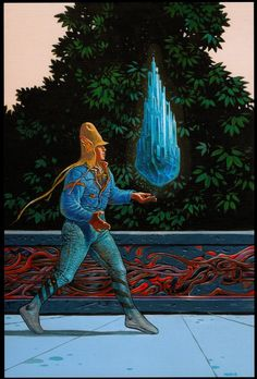 Moebius - Starwatcher au cristal bleu  (Starwatcher With Blue Crystal) - Acrylic - 30 x 20 cm - Poster projectFron catalog of auction sale by Millon & Associés - 2007 Nov. 24th - Drouot Montaigne ParisEstimated price: 9,000 / 10,000 euros