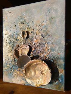Muscheln Partei * Golden Original Strand Wandkunst, romantisch, abstrakt seelandschaft, 3D, Seashell Kunst, Mischtechnik Muscheln, Ocean Kunst, Meer, Liebe