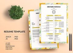 Floral CV / Resume Template / N  by Showy68 Template on @creativemarket