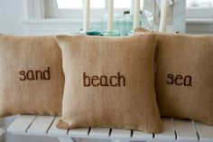 Cute burlap pillows with embroidery
