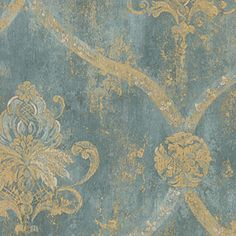 damask wallpaper | ... Teal and Metallic Gold Damask Wallpaper - Classic Wallcoverings