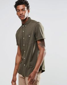 ASOS+Jersey+Shirt+In+Khaki+With+Short+Sleeves+In+Regular+Fit