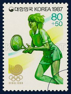 Postage Stamps of Seoul Olympics 1988, Tennis, Sports, green, white, 1987 5 25, 88 서울올림픽, 1987년 5월 25일, 1495, 테니스, postage 우표