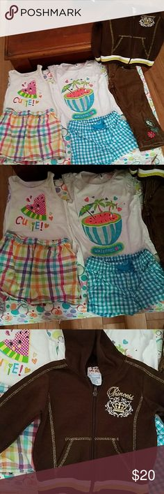 Bundle 24 Months Baby Girl Clothes Tooooo Cute 2 Tops 2 Shorts 1 Cordorory Pants  1 Double Trouble Jacket......Outfits Watermelon is Healthtex Cutie is Garanimals Other