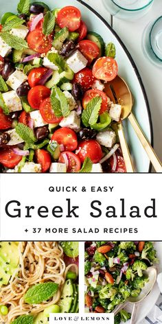 These 37 salad recipes are perfect for dinner parties, summer cookouts, packed lunches, and more! From pasta salads to fruit salads to potato salads Easy Greek Salad Recipe, Greek Salad Recipes, Best Salad Recipes, Summer Salad Recipes, Summer Salads, Vegetarian Recipes, Cooking Recipes, Healthy Recipes, Detox Recipes