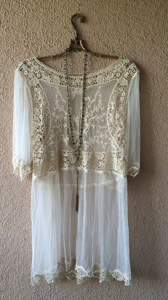 Anthropologie lace and crochet romantic spring dress / Bohemian Angel