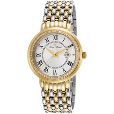 Lucien Piccard Fantasia Two-Tone Stainless Steel Silver-Tone Dial... ($130) ❤ liked on Polyvore featuring jewelry, watches, gold, 2 tone bracelet, bracelet watches, silvertone jewelry, wide bracelet and two tone jewelry