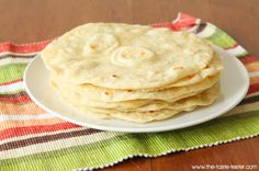 Homemade Soft Flour Tortillas made with olive oil #recipe www.the-taste-tester.com