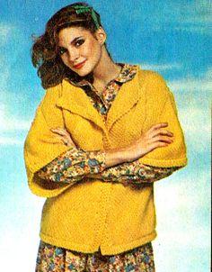 PDF Vintage 1980s Ladies Boxy Cardigan Knitting Pattern, Easy-Make based on a Square!, Retro-Chic, Laura Ashley stylex
