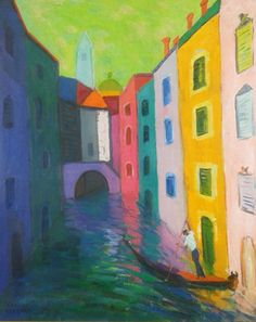 A Gondolier And His Canal 36x31 by Constantine Cherkas