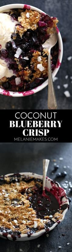 Warm, bubbly blueberries are capped by a crunchy cap of oats and coconut to create this delicious Coconut Blueberry Crisp. No chopping of fruit required means that this delicious dessert is ready for the oven in just 15 minutes!