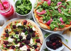 Pizza party // blackberry-ricotta-basil and prosciutto-goat cheese-arugula