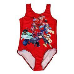 NEW 0021 Children Girl Summer cartoon Red Big Hero 6 Droid Baymax 3D Prints One-piece Swimsuit Swimwear Kids bathing suit