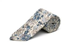 Pomp & Ceremony, Men's tie, Liberty of London Poppy and Honesty Grey/blue. $70.00, via Etsy.
