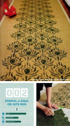 The Peacock Fancy Stencil from Royal Design Studio is one of their many furniture stencils perfect for smaller projects, this one on a sisal rug. Stencil Rug, Stencil Patterns, Stencil Designs, Easy Diy Crafts, Fun Diy, Stenciled Floor, Young House Love, Floor Cloth, Fabric Rug