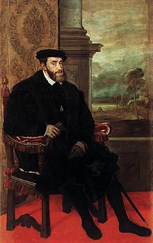 Charles V (24 February 1500 – 21 September 1558) was ruler of the Holy Roman Empire from 1519 and, as Charles I, of the Spanish Empire from 1516 until his voluntary abdication in favor of his younger brother Ferdinand I as Holy Roman Emperor and his son Philip II as King of Spain in 1556.  As the ruler of many greater and lesser European states, Charles had a very complicated coat of arms. He was the heir of three of Europe's leading dynasties, the House of Habsburg of the Habsburg...