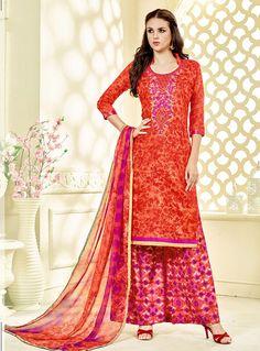 Orange Cotton Palazzo Style Suit 89552