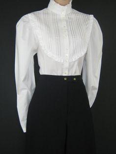 LAURA ASHLEY Vintage Victorian/Edwardian Style White Pin Tuck Bip Ruffle Blouse, UK 12/14