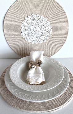 Kitchen Place Mats Handmade set of four Round by creativecarmelina, $49.00