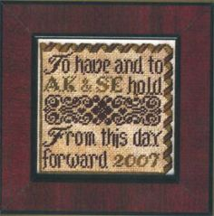 This Day Forward is the title of this cross stitch pattern from Erica Michael's Petites Collection. The pattern is stitched on 40 ct Silk Ga...