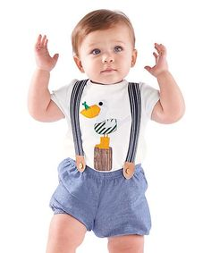 Look what I found on #zulily! Chambray Suspender Diaper Cover & White Pelican Tee - Infant #zulilyfinds