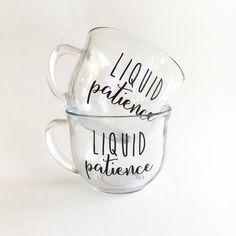 18oz glass mug vinyl applique HAND WASH ONLY