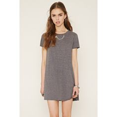 Forever 21 Women's  Heathered T-Shirt Dress ($9.90) ❤ liked on Polyvore featuring dresses, short sleeve t shirt dress, a line t shirt dress, tee dress, mini dress and a line mini dress