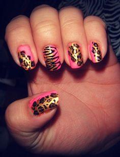 Gold and pink animal print nails nails pink nails nail art diy nails gold nails animal print nail ideas nail designs