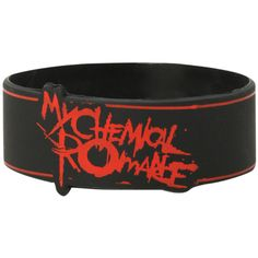 Hot Topic My Chemical Romance Lines Rubber Bracelet ($4.90) ❤ liked on Polyvore featuring jewelry, bracelets, black, rubber bangles and rubber jewelry