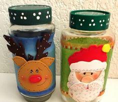 Frascos de vidrio reciclados y decorados con goma eva