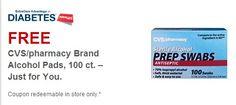 Free CVS/pharmacy Brand Alcohol Pads 100 ct.
