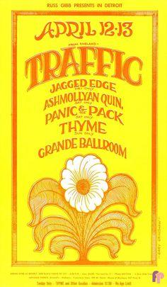 1968 Traffic / Jagged Edge /Ashmollyan Quintet at Detroit Grande Ballroom. Art by Gary Grimshaw.