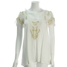 Valentino T-Shirt Couture Ivory Beaded Lace Blouse - $149.99